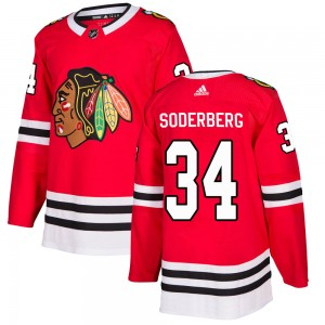 Men's Chicago Blackhawks Carl Soderberg Adidas Authentic Home Jersey - Red