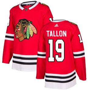 Men's Chicago Blackhawks Dale Tallon Adidas Authentic Home Jersey - Red