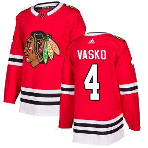 Men's Chicago Blackhawks Elmer Vasko Adidas Authentic Home Jersey - Red