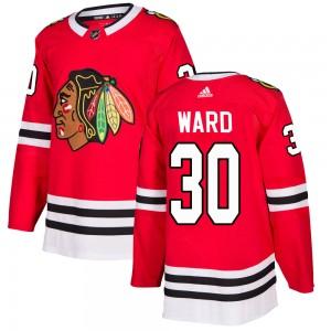 Men's Chicago Blackhawks Cam Ward Adidas Authentic Home Jersey - Red