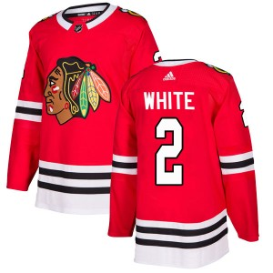 Men's Chicago Blackhawks Bill White Adidas Authentic Red Home Jersey - White