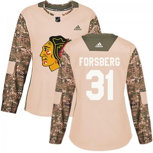 Women's Chicago Blackhawks Anton Forsberg Adidas Authentic Veterans Day Practice Jersey - Camo