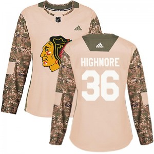 Women's Chicago Blackhawks Matthew Highmore Adidas Authentic Veterans Day Practice Jersey - Camo