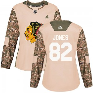 Women's Chicago Blackhawks Caleb Jones Authentic adidas Veterans Day Practice Jersey - Camo