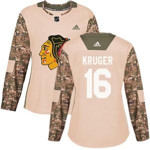 Women's Chicago Blackhawks Marcus Kruger Adidas Authentic Veterans Day Practice Jersey - Camo