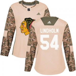 Women's Chicago Blackhawks Anton Lindholm Authentic adidas Veterans Day Practice Jersey - Camo