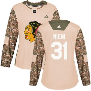 Women's Chicago Blackhawks Antti Niemi Adidas Authentic Veterans Day Practice Jersey - Camo