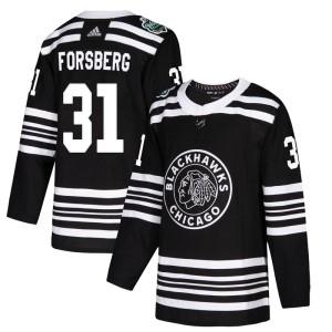 Youth Chicago Blackhawks Anton Forsberg Adidas Authentic 2019 Winter Classic Jersey - Black