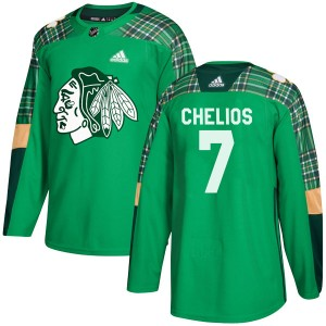 Men's Chicago Blackhawks Chris Chelios Adidas Authentic St. Patrick's Day Practice Jersey - Green