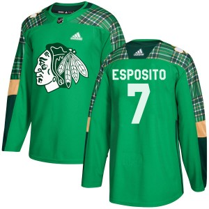 Men's Chicago Blackhawks Phil Esposito Adidas Authentic St. Patrick's Day Practice Jersey - Green