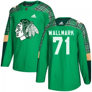 Men's Chicago Blackhawks Lucas Wallmark Adidas Authentic St. Patrick's Day Practice Jersey - Green