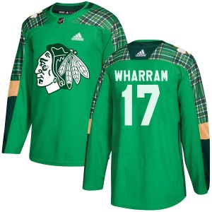 Men's Chicago Blackhawks Kenny Wharram Adidas Authentic St. Patrick's Day Practice Jersey - Green
