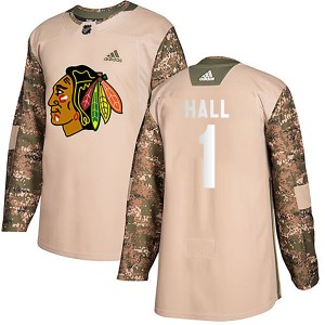 Youth Chicago Blackhawks Glenn Hall Adidas Authentic Veterans Day Practice Jersey - Camo