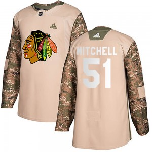 Youth Chicago Blackhawks Ian Mitchell Adidas Authentic Veterans Day Practice Jersey - Camo