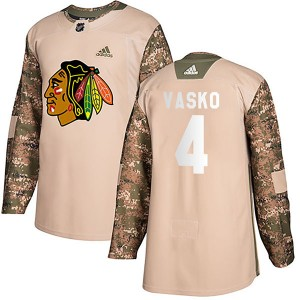 Youth Chicago Blackhawks Elmer Vasko Adidas Authentic Veterans Day Practice Jersey - Camo