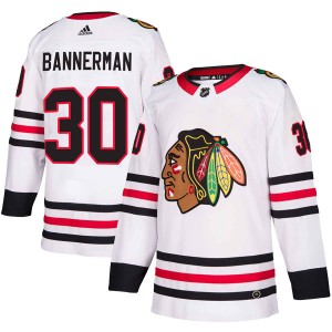 Men's Chicago Blackhawks Murray Bannerman Adidas Authentic Away Jersey - White