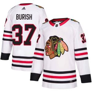 Men's Chicago Blackhawks Adam Burish Adidas Authentic Away Jersey - White