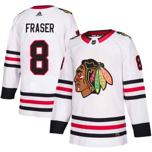 Men's Chicago Blackhawks Curt Fraser Adidas Authentic Away Jersey - White