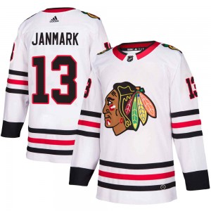 Men's Chicago Blackhawks Mattias Janmark Adidas Authentic Away Jersey - White