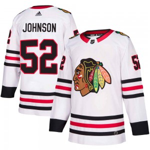Men's Chicago Blackhawks Reese Johnson Adidas Authentic Away Jersey - White