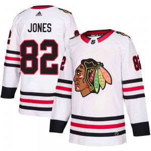 Men's Chicago Blackhawks Caleb Jones Adidas Authentic Away Jersey - White