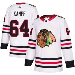 Men's Chicago Blackhawks David Kampf Adidas Authentic Away Jersey - White
