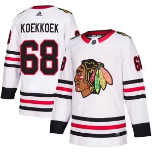 Men's Chicago Blackhawks Slater Koekkoek Adidas Authentic Away Jersey - White