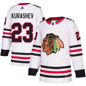Men's Chicago Blackhawks Philipp Kurashev Adidas Authentic Away Jersey - White