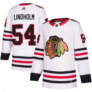 Men's Chicago Blackhawks Anton Lindholm Adidas Authentic Away Jersey - White