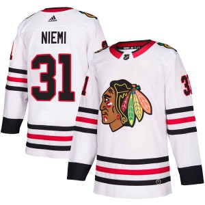 Men's Chicago Blackhawks Antti Niemi Adidas Authentic Away Jersey - White