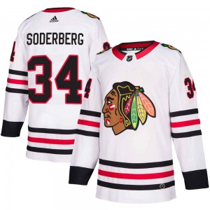 Men's Chicago Blackhawks Carl Soderberg Adidas Authentic Away Jersey - White