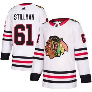 Men's Chicago Blackhawks Riley Stillman Adidas Authentic Away Jersey - White
