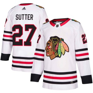 Men's Chicago Blackhawks Darryl Sutter Adidas Authentic Away Jersey - White