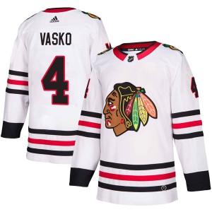 Men's Chicago Blackhawks Elmer Vasko Adidas Authentic Away Jersey - White