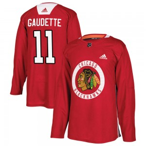 Youth Chicago Blackhawks Adam Gaudette Adidas Authentic Home Practice Jersey - Red