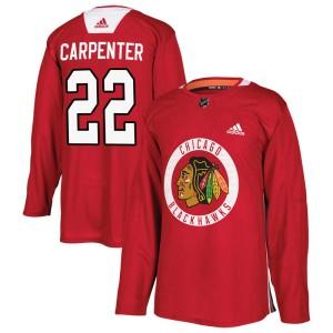 Men's Chicago Blackhawks Ryan Carpenter Adidas Authentic Home Practice Jersey - Red