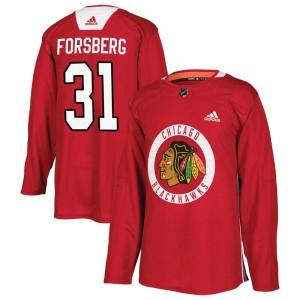 Men's Chicago Blackhawks Anton Forsberg Adidas Authentic Home Practice Jersey - Red