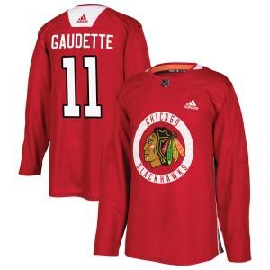 Men's Chicago Blackhawks Adam Gaudette Adidas Authentic Home Practice Jersey - Red