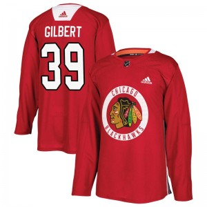 Men's Chicago Blackhawks Dennis Gilbert Adidas Authentic Home Practice Jersey - Red