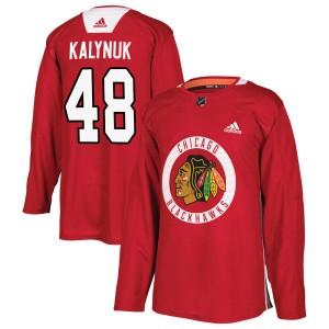 Men's Chicago Blackhawks Wyatt Kalynuk Adidas Authentic Home Practice Jersey - Red