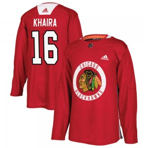 Men's Chicago Blackhawks Jujhar Khaira Adidas Authentic Home Practice Jersey - Red