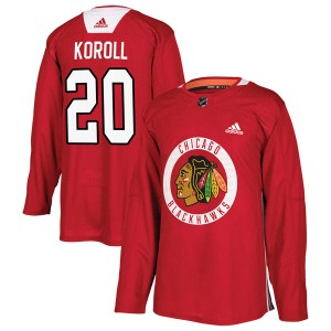 Men's Chicago Blackhawks Cliff Koroll Adidas Authentic Home Practice Jersey - Red