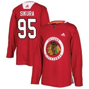 Men's Chicago Blackhawks Dylan Sikura Adidas Authentic Home Practice Jersey - Red