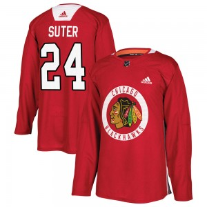 Men's Chicago Blackhawks Pius Suter Adidas Authentic Home Practice Jersey - Red