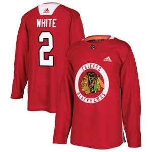 Men's Chicago Blackhawks Bill White Adidas Authentic Red Home Practice Jersey - White