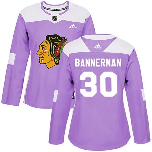 Women's Chicago Blackhawks Murray Bannerman Adidas Authentic Fights Cancer Practice Jersey - Purple
