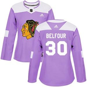 Women's Chicago Blackhawks ED Belfour Adidas Authentic Fights Cancer Practice Jersey - Purple