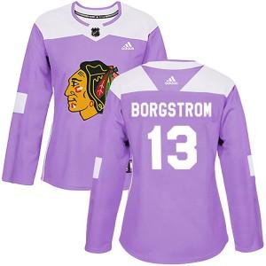 Women's Chicago Blackhawks Henrik Borgstrom Adidas Authentic Fights Cancer Practice Jersey - Purple