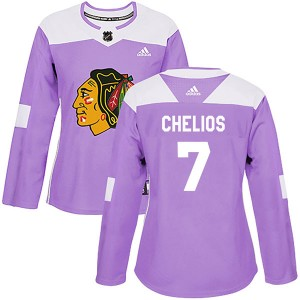 Women's Chicago Blackhawks Chris Chelios Adidas Authentic Fights Cancer Practice Jersey - Purple