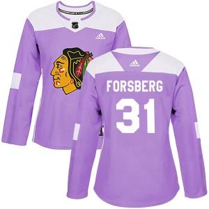 Women's Chicago Blackhawks Anton Forsberg Adidas Authentic Fights Cancer Practice Jersey - Purple
